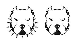American bully logo. Dog head bully in a collar with spikes on white background. Logo element for design. Vector illustration vector illustration