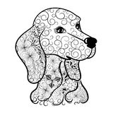 Dog head doodle. Illustration Dog head doodle was created in doodling style in black and white colors.  It  can be used for coloring books for adult Royalty Free Stock Photos