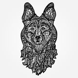 Dog head, face sheepdog. Coloring tattoo design pattern,  doodle Stock Photos