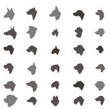 Dog head silhouette icon set Different dos breed Pet Royalty Free Stock Photos