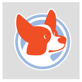 Dog head of Welsh Corgi breed. Colorful vector drawing of dog head of Welsh Corgi breed Royalty Free Stock Photos