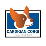 Dog head of Welsh Corgi breed. Sign template with stylized vector drawing of head of dog Welsh Corgi breed Royalty Free Stock Images