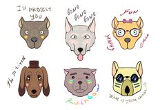 Dog head on white background, vector illustration for design and. A set of icons with canine heads and text next. This collection can be used for printing on T vector illustration