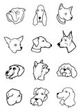 Dog heads collection Stock Photography
