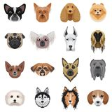 Dog heads logo set. Vector illustration emblem isolated. Stock Image