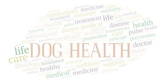 Dog Health word cloud. Wordcloud made with text only vector illustration