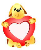 Dog with heart Stock Images