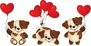 Dog with heart balloon Stock Images