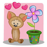 Dog with heart and flower Royalty Free Stock Photo