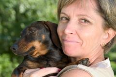 dog her woman Στοκ Φωτογραφία