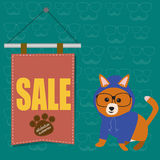 The dog with the hipster style sale banner Royalty Free Stock Images
