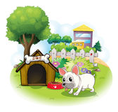 A dog and his doghouse inside the fence. Illustration of a dog and his doghouse inside the fence on a white background stock illustration