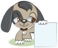 Dog holding a blank sheet of paper. Illustration in vector format Royalty Free Stock Photos