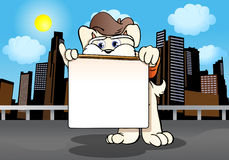 Dog holding blank  sign board Royalty Free Stock Photography