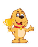 Dog holding a trophy cup. Clipart picture of a dog cartoon character holding a trophy cup Stock Photo