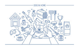 Dog in home contour banner with pet toys, meds and puppy meals. Horizontal outline line art vector illustration. royalty free illustration