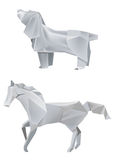 Dog_Horse_origami. Illustration of folded paper models, dog and horse on white background, Vector illustration Royalty Free Stock Photos