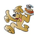 Dog with hot dog Royalty Free Stock Image
