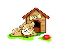 Dog house. Happy dog dreaming near his wood house isolated Royalty Free Stock Photos