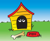 In The Dog House. A cartoon depiction of the phrase In The Dog House Royalty Free Stock Photos