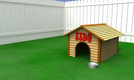 Dog house. A doghouse with food bowl in a fenced in backyard Stock Photos