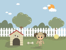 In the dog house. Baby in dog costume with kennel, ball and bone Stock Photo
