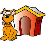 Dog house. Illustration of a funny dog in front of his house Stock Photo
