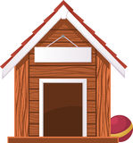 Dog House with Blank Banner Stock Photos