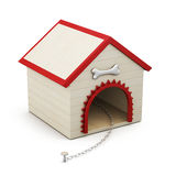 Dog house with chain  on white background. 3d rendering.  Stock Image