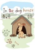 In the dog house embroidery illustration Stock Images