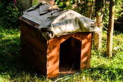 Dog House. A dog house in the garden of a village house during a sunny evening in Marmara region of the country Turkey Royalty Free Stock Images