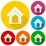 Dog house icons set with long shadow Royalty Free Stock Image