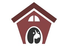 Dog house logo. Vector dsign concept Royalty Free Stock Photography