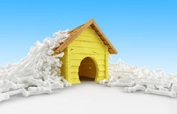 Dog house many bones Royalty Free Stock Photos