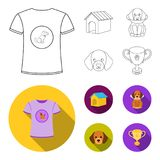 Dog house, protective collar, dog muzzle, cup. Dog set collection icons in outline,flat style vector symbol stock. Illustration Stock Image