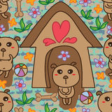 Dog house seamless pattern Stock Photography