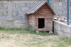 Dog house. Small dog house shed in garden Stock Photo