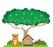 Dog and house under the tree Stock Photography