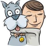 Dog Hug. A cartoon boy hugging his friendly dog Royalty Free Stock Photos