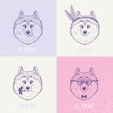 Dog Husky art. Beautiful set with cute and funny emoticon husky dogs. Vector illustration Stock Photo