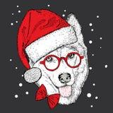 Dog i jul hatt och solglasögon också vektor för coreldrawillustration Gulligt skrovligt vektor illustrationer