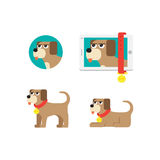 Dog icon in different situations Royalty Free Stock Photography