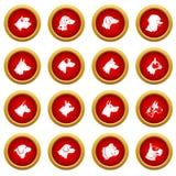 Dog icon red circle set Royalty Free Stock Images