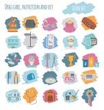 Dog icon set. Heatlh care, vet, nutrition, exhibition Stock Photo