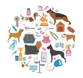 Dog icon set. Heatlh care, vet, nutrition, exhibition Royalty Free Stock Photography