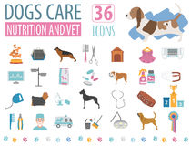 Dog icon set. Heatlh care, vet, nutrition, exhibition Royalty Free Stock Image