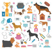 Dog icon set. Heatlh care, vet, nutrition, exhibition Royalty Free Stock Photo