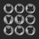 Dog icons. Icons set: stylized dogs. Metallic Royalty Free Stock Image