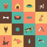 Dog icons flat line Royalty Free Stock Images