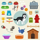 Dog icons flat set with dung kennel leash food bowl. Isolated vector illustration Stock Image